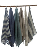 large Pure Linen Tea Towels in White and  Flax Stripes 80x50cm
