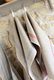 Heavyweight French Country Linen Tea Towels with White Stripe Detail 72x50cm