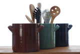Portuguese  terracotta utensil holder with 2 handles in 3 colours