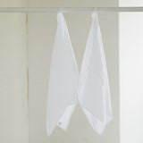 2 Optical White Linen Waffle Guest Hand Towels Prewashed