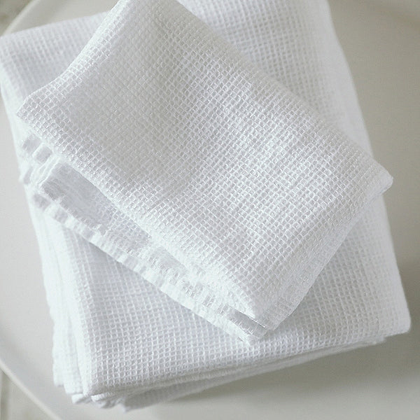 2 Optical White Linen Waffle Guest Hand Towels stone washed