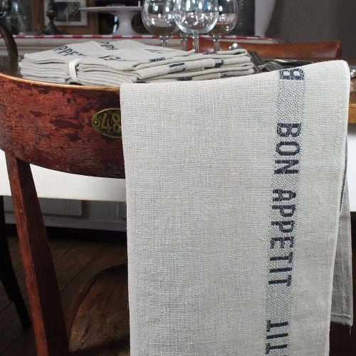 Pure French linen tea towel with black bon appetit detailing