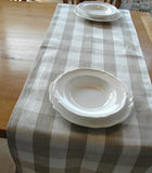 Natural Pure Linen Table Runner in Plain-Checked or Striped 50x150cm