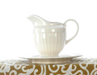 Ivory Cream Fine Ironstone China Milk Jug in Step Design