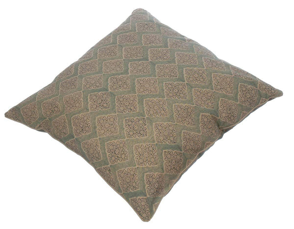 Potager Collection Cotton Cushion in  Sea Green Maze 60x60 Hand Block Printed