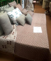 Hand Stamped Cotton Quilted Bedspread in Duck Egg Green Tessera 260x260cm King Size