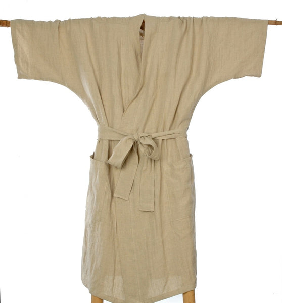 Pure Linen Kimono Styled Bathrobe in M,L+XL