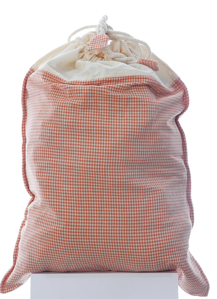 Large Pure Cotton Laundry Bag in Cinnamon Check