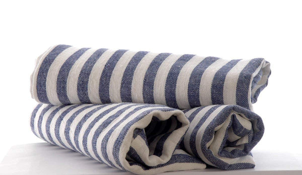 3 large Pure Linen Tea Towels in Denim Blue Stripe 80x50cm