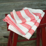 Striped Linen towel in Dorset Red Stripe with Hanging Loop