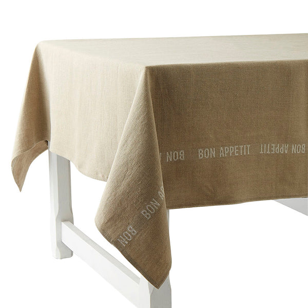 Pure French Heavyweight Linen Tablecloths with White Bon-Appetit Detailing