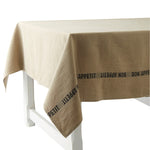 French Heavyweight Linen Tablecloths with Black Bon-Appetit Detailing