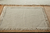 2 Linen French Country Weave Place Mats with Natural Linen Fringe Feature