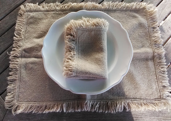 French linen fringed placemats and napkin in plain flax