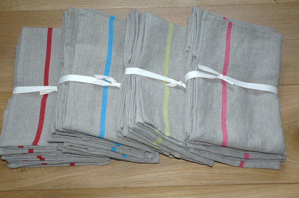 Pure Pre-Washed Linen Tea Towel from The Rainbow Collection in Rose