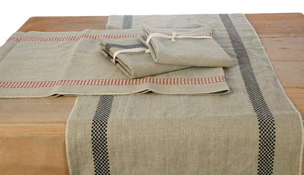 Pure French Linen Long Table Runners with Woven Stripe Check Detailing