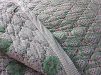 Traditional Hand Stamped Cotton Quilted Bedspread/Throw 260x260cm King Size