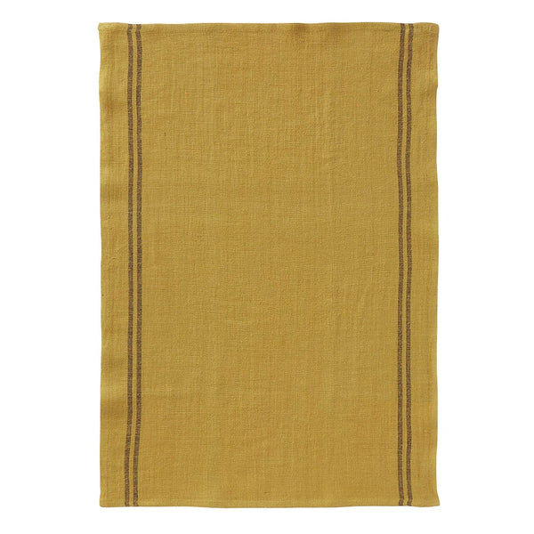 Linen tea towel in vintage gold