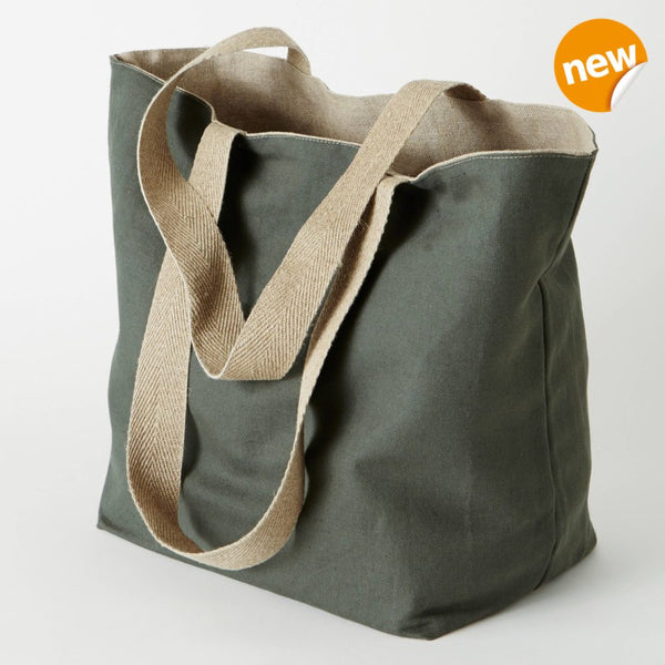 pure linen shopping bag in vintage green