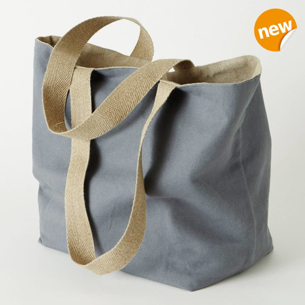 Machine washable pure linen shopping bag in grey