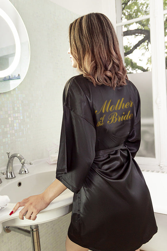 Be lorette black satin robe mother of the bride