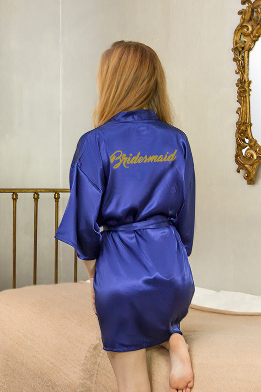 be lorette midnight blue satin robe for bridesmaids, bridesmaid