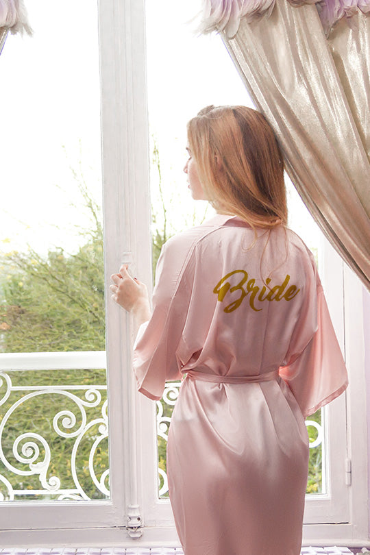 be lorette bathrobe in pale pink satin for Bride, bride-to-be