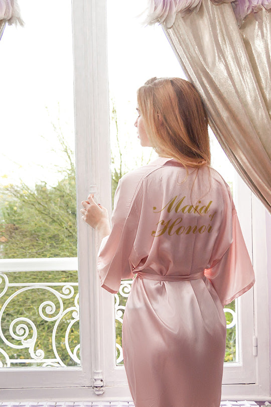 be lorette robe in pale pink satin for maid of honor