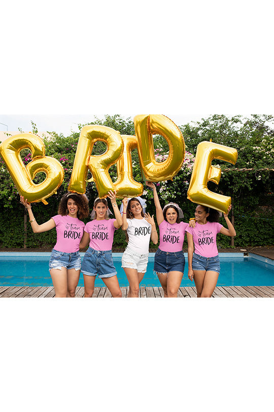 be lorette top t-shirt Bride et Team Bride en rose et blanc
