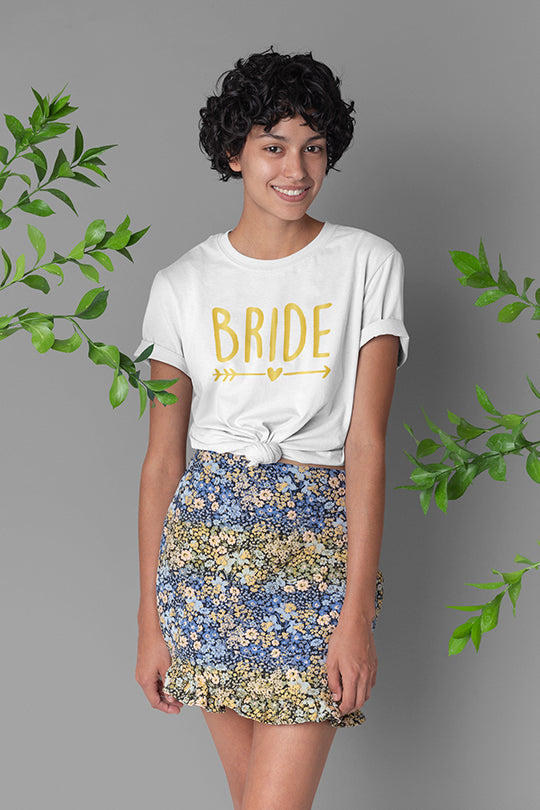 be lorette top t-shirt evjf blanc avec flocage Bride en doré