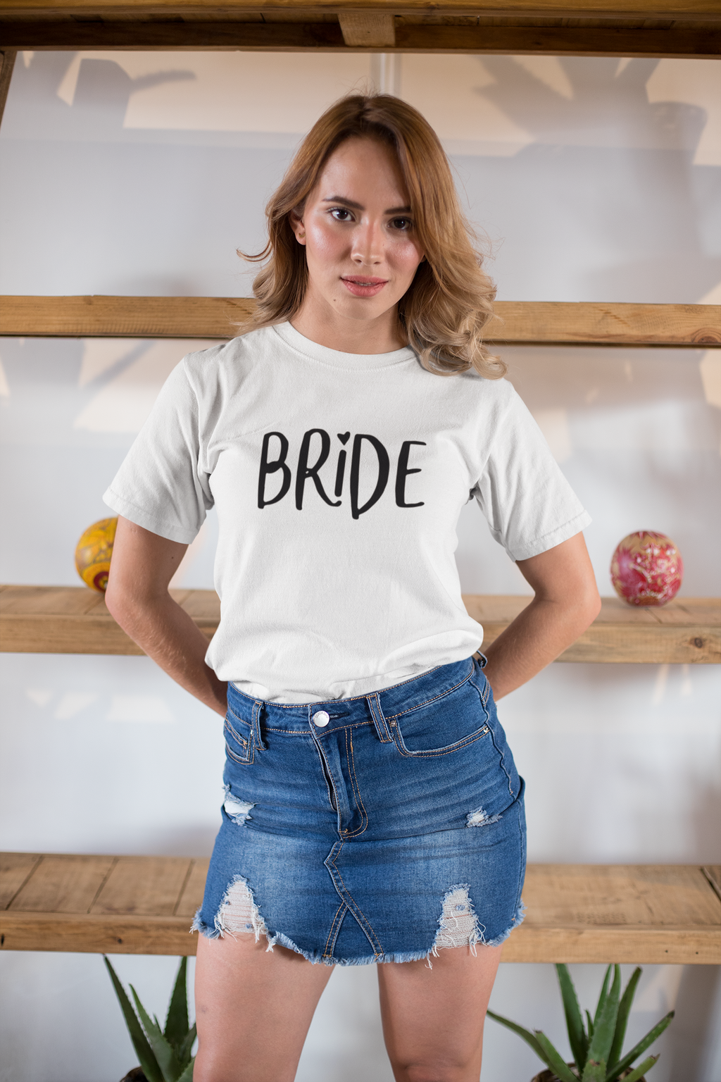 be lorette top white evjf t-shirt with Bride flocage in black