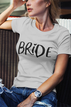 be lorette top t-shirt evjf gris avec flocage Bride en noir
