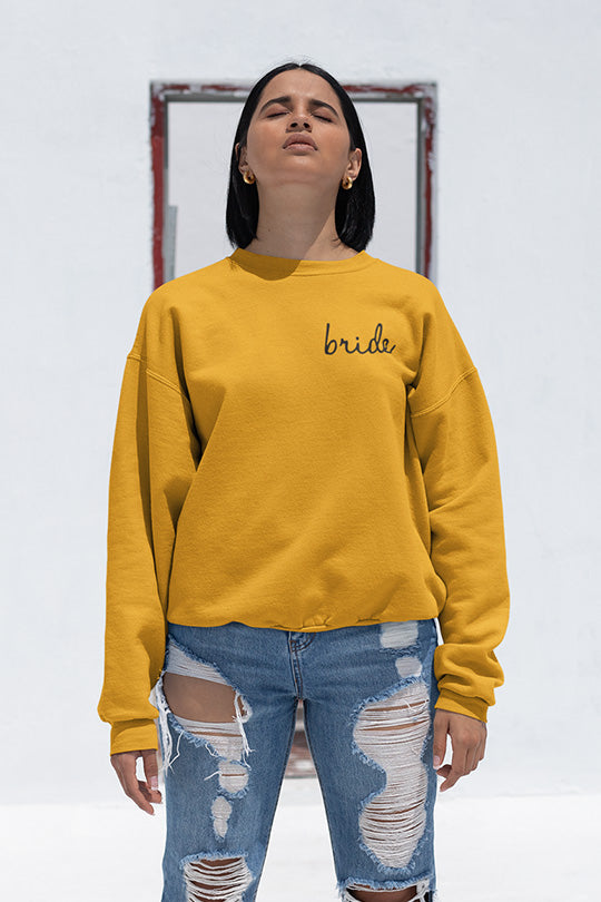 be lorette pull ou sweat evjf en coton Bride jaune