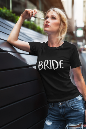 be lorette top t-shirt evjf noir avec flocage Bride en blanc