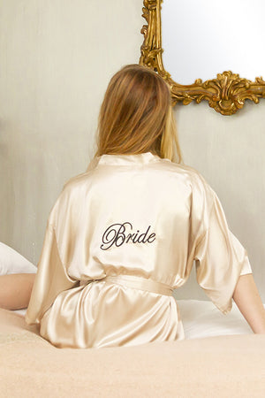 be lorette peignoir en satin champagne Bride