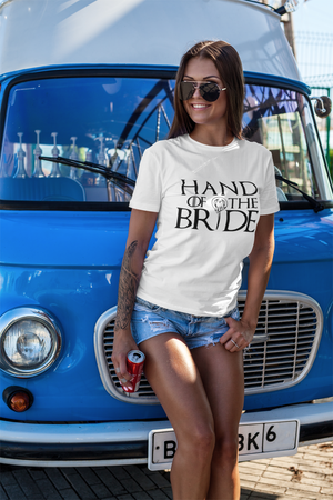 be lorette t-shirt et top evjf hand of the bride en blanc