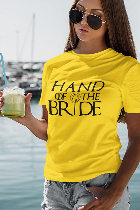 be lorette t-shirt et top evjf hand of the bride en jaune