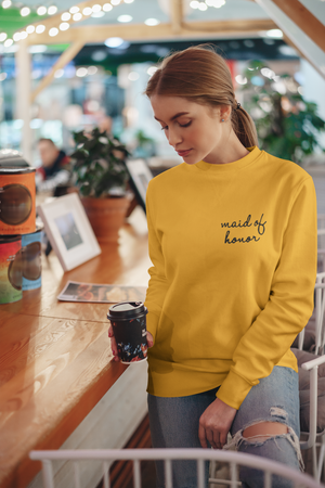 be lorette pull ou sweat evjf en coton Maid of honor / témoin jaune