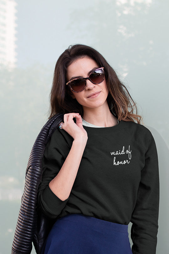 be lorette pull ou sweat evjf en coton Maid of honor / témoin noir