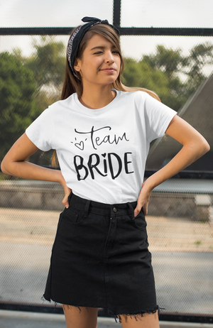 be lorette top white evjf t-shirt with Team Bride flocking in black
