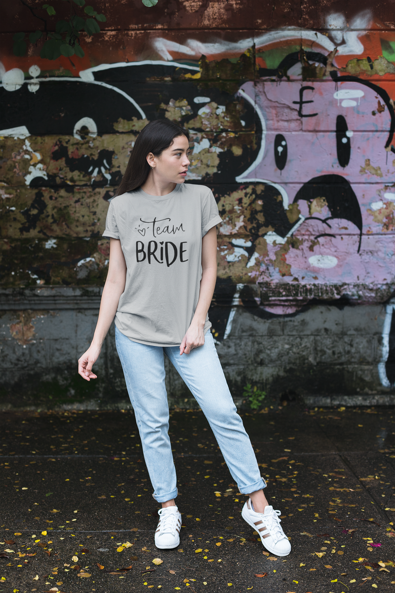 be lorette top t-shirt evjf gris avec flocage Team Bride en blanc