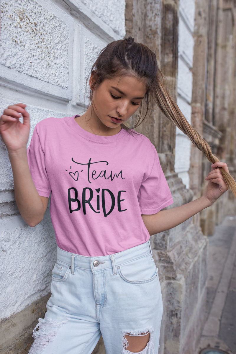 be lorette bachelorette party yellow top t-shirt with Team Bride printing in black