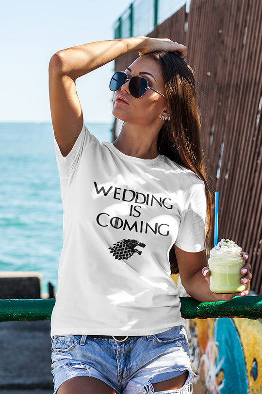 be lorette t-shirt et top evjf wedding is coming en blanc