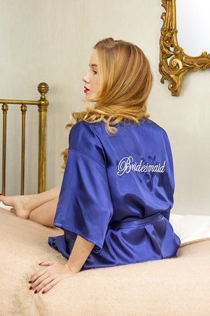 be lorette peignoir en satin bleu bridesmaid