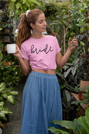 be lorette t-shirt ou top evjf Simple Bride en coton Bride rose