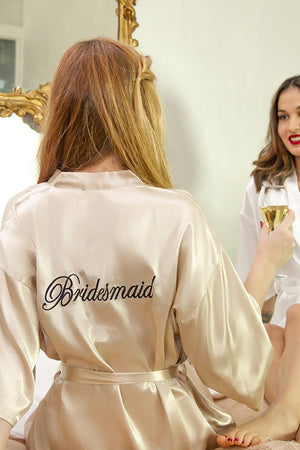 be lorette peignoir en satin champagne bridesmaid