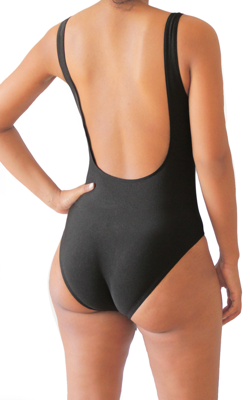"be lorette bachelorette party one-piece swimsuit in black ""Future Mrs"""
