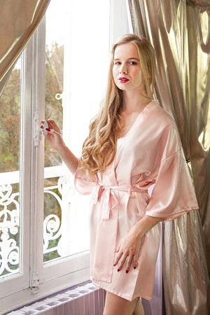 be lorette pale pink satin robe for bridesmaids, bridesmaid