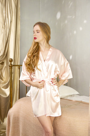 be lorette pale pink satin bathrobe for Bride, bride-to-be bride