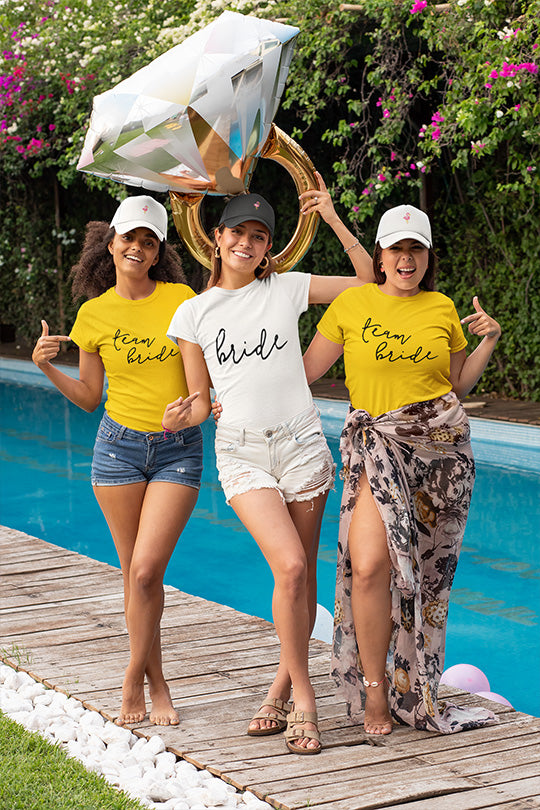 be lorette t-shirt  Bride and Team Bride in white and yellow